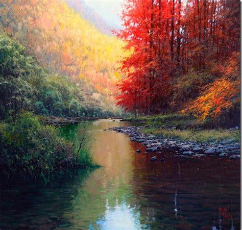 Pintura al oleo rio reflejos agua | Cuadros a pintar ...