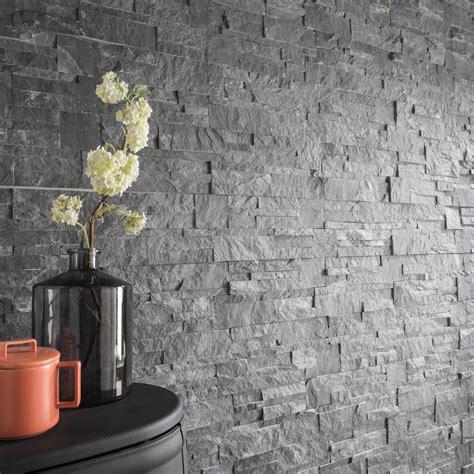 Plaquette de parement pierre naturelle gris Elegance ...