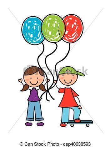 Poco, niños, globos, aire. Poco, niños, ilustración, aire ...
