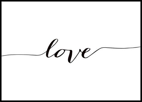 Poster mit dem Wort Love in Handschrift, Schwarz Weiß Poster