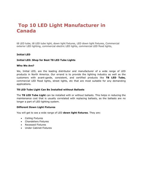 PPT   Top 10 LED Light Manufacturer in Canada PowerPoint ...
