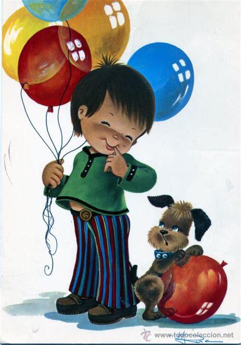 preciosa postal de niño con globos   dibujo fir   Comprar ...