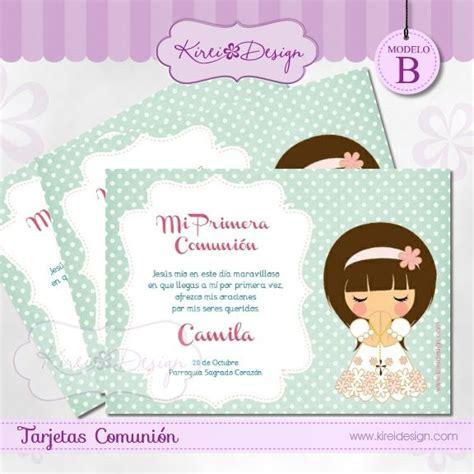 #printable #tarjeta para comunion niñas Modelo Mizuki B en ...
