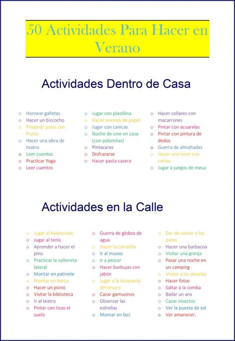 Que hacer en vereano: 50 actividades para hacer con niños.