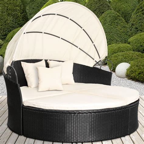 Rattan Daybed Sun Canopy Lounger Garden Furniture Set ...