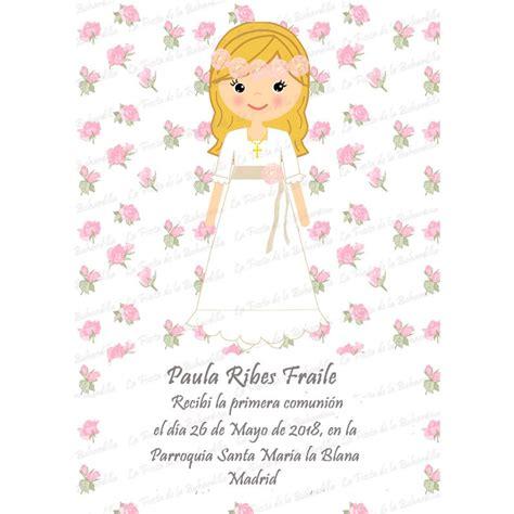 Recordatorio comunión niña florecitas rosa niña
