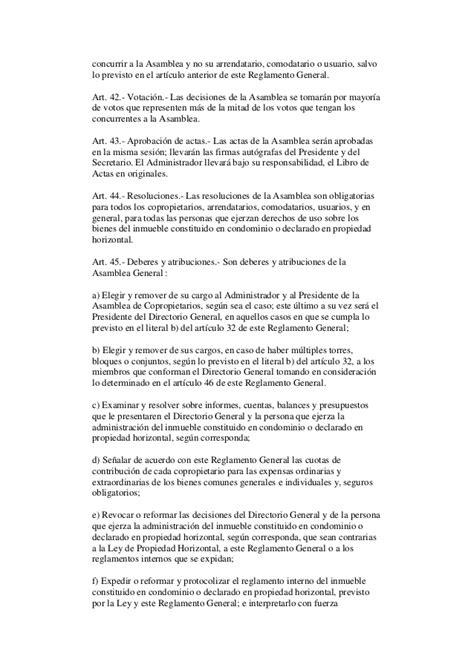Reglamento a la ley de propiedad horizontal del ecuador
