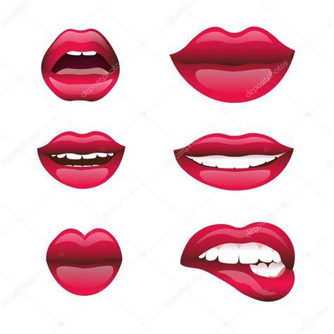 Rojo y rosa besos y sonriendo dibujos animados labios ...