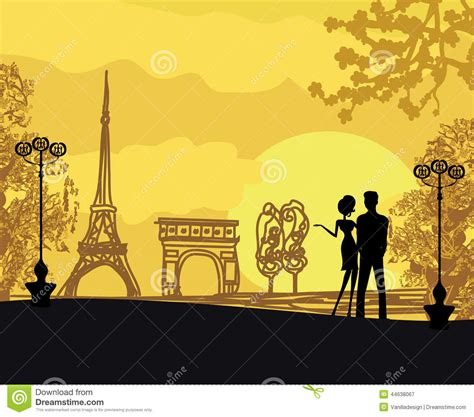 Romantic Couple In Paris Stock Vector   Image: 44638067