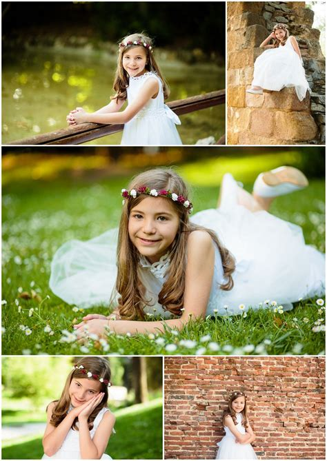 Sesion de fotos de niña con el traje de primera comunion ...
