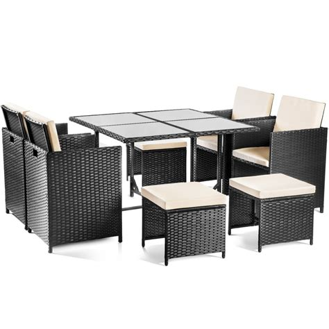Set muebles jardin 9 pc ratan sintetico mesa+sillas ...