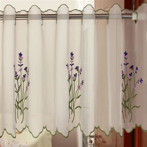 short curtains for kitchen window lavender floral ...