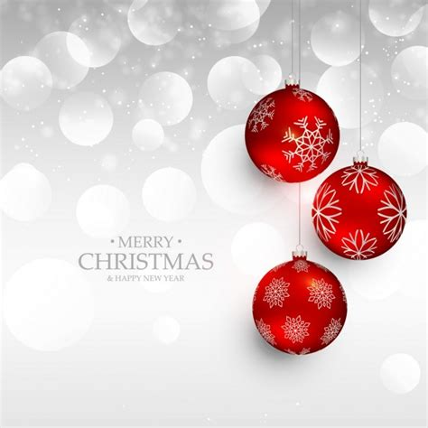 Silver background with red christmas balls Vector | Free ...