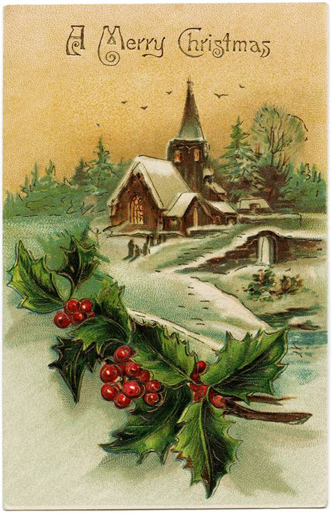 Snow Covered Country Church Scene | Old Design Shop Blog
