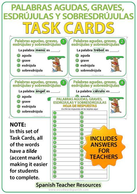 Spanish Task Cards – Palabras Agudas, Graves, Esdrújulas y ...