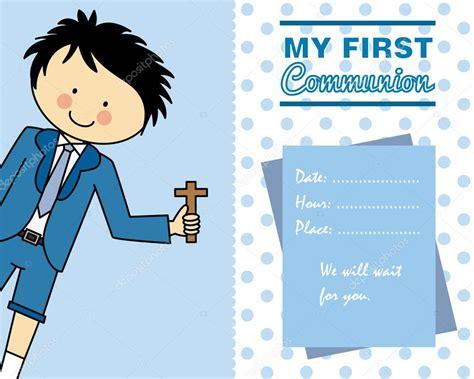 Tarjeta de primera comunión niño — Archivo Imágenes ...