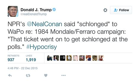 Trump defends using  schlong  to mock Hillary in tweets ...