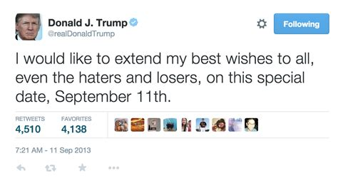 Trump s  haters and losers  Sept. 11 tweet vanishes   POLITICO