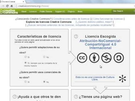 Tutorial elegir licencia de Creative Commons   YouTube