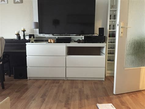 Two IKEA Malm chests as a TV highboard   IKEA Hackers ...