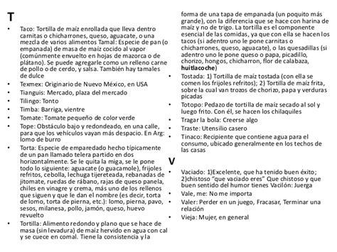 Variantes lexicas en méxico