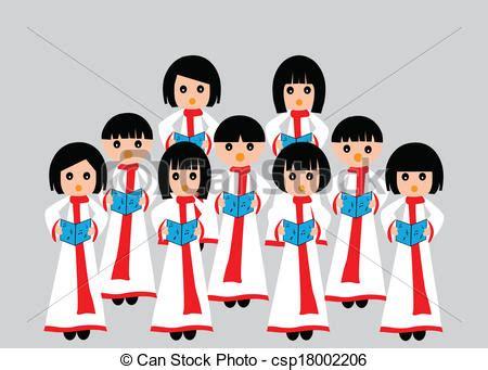 Vector Clip Art de coro, canto   Un, grupo, de, niños, en ...