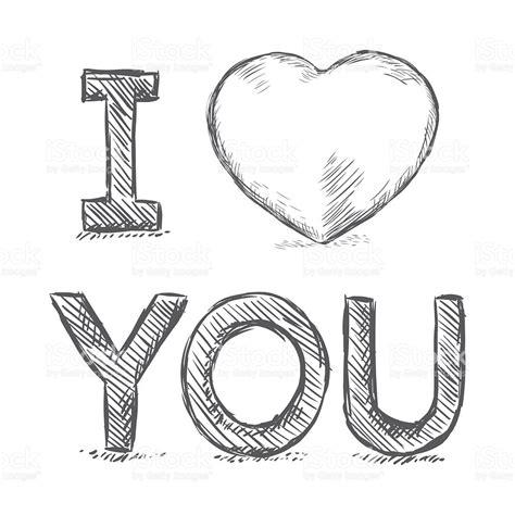 Vector Lápis Desenho Ilustraçãoi Love Youfrase Em Inglês ...