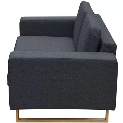 vidaXL Conjunto de sofás de 2 y 3 plazas gris oscuro ...