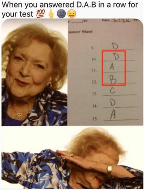 When You Answered DAB in a Row for Your Test 20 Nswer ...
