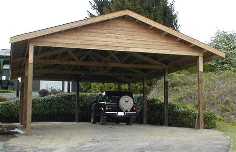 wooden carports | 24 x 36 cedar carport attached carport ...