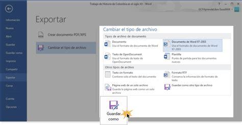 Word 2013   Exportar un documento a otro tipo de archivo
